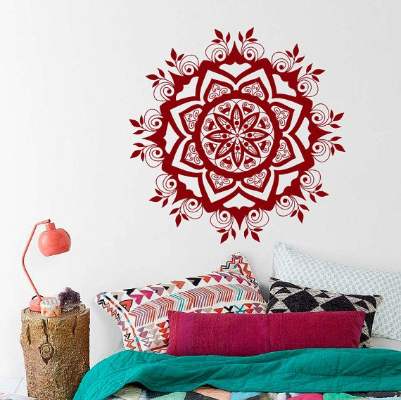 Wall Decal 3D Mandala Moroccan Ornament Flower Namaste Indian Circle Geometric Yoga Bohemian Dorm Home Decor Murals Vinyl Sticker S131