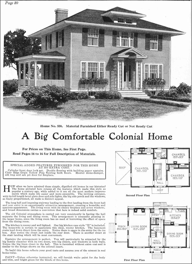 1918 Classic Colonial Revival Gordon Van Tine Kit Homes Model No 558 Vintage House Plans Colonial House Kit Homes