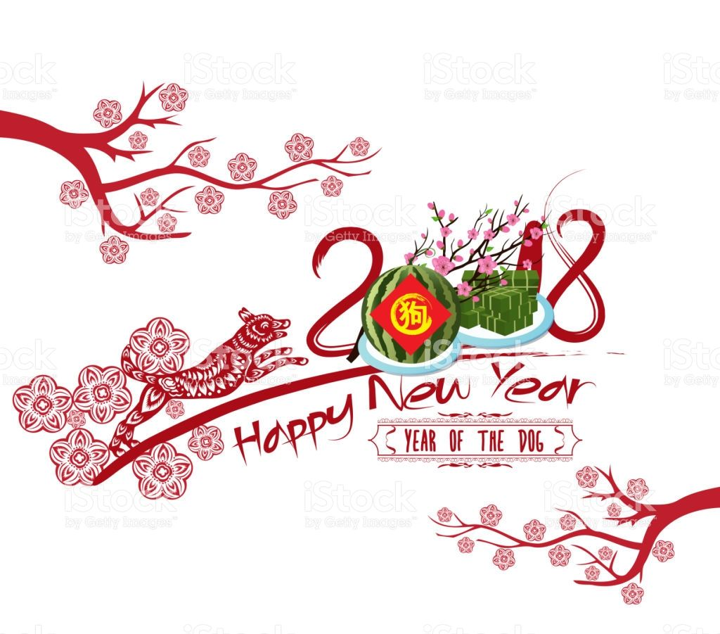 Happy Chinese new year 2018 card year of dog Happy