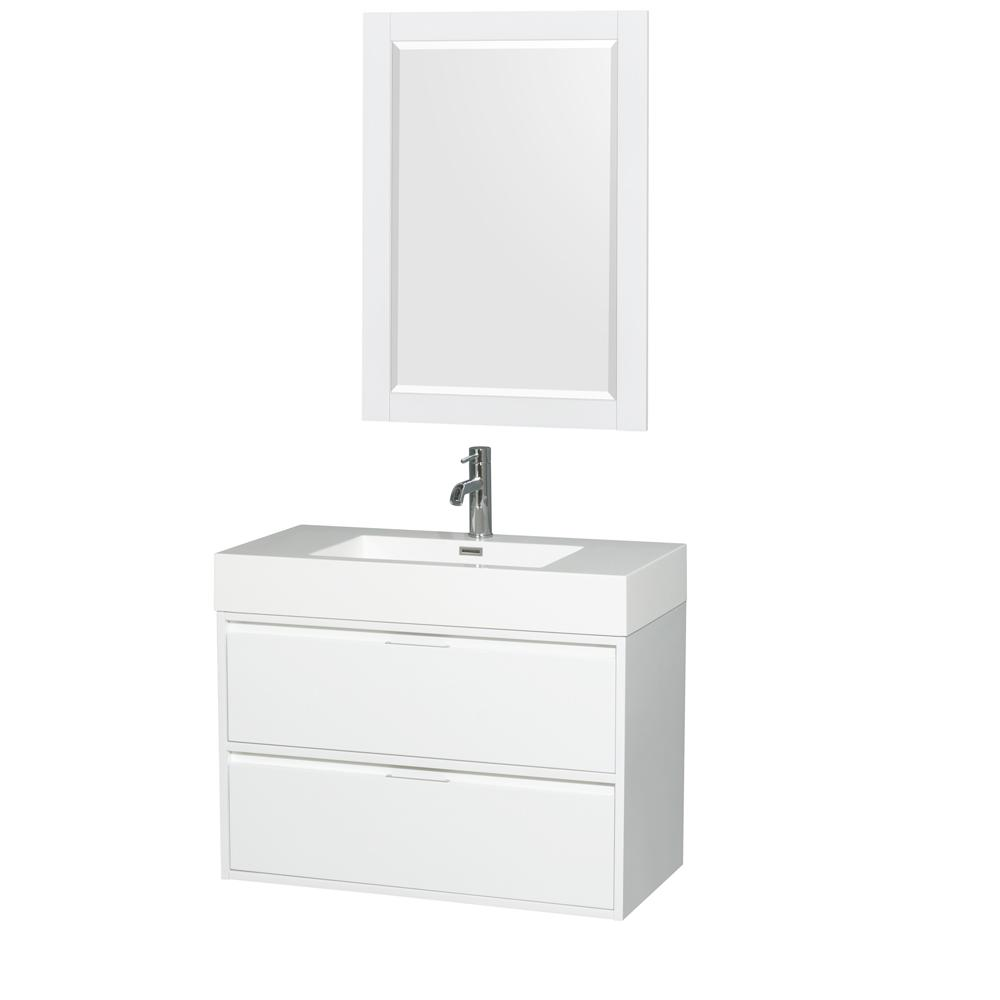 Wyndham Collection Daniella 35.3 in. W Vanity in Glossy White with Acrylic Vanity Top in White with White Basin and 24 in. Mirror