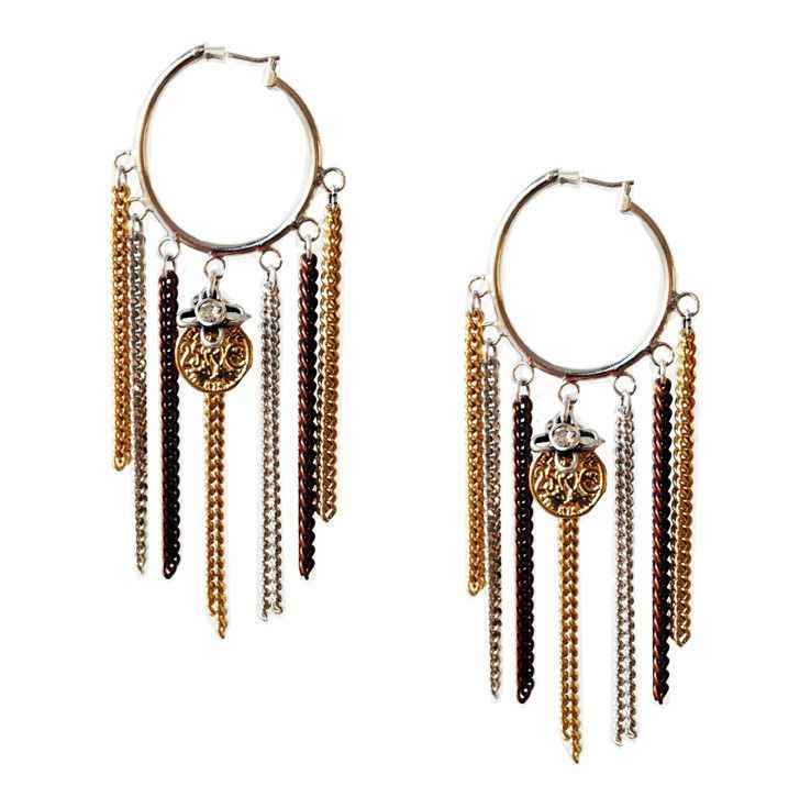 Hoop earrings with fringes chains charms and burnished gold
