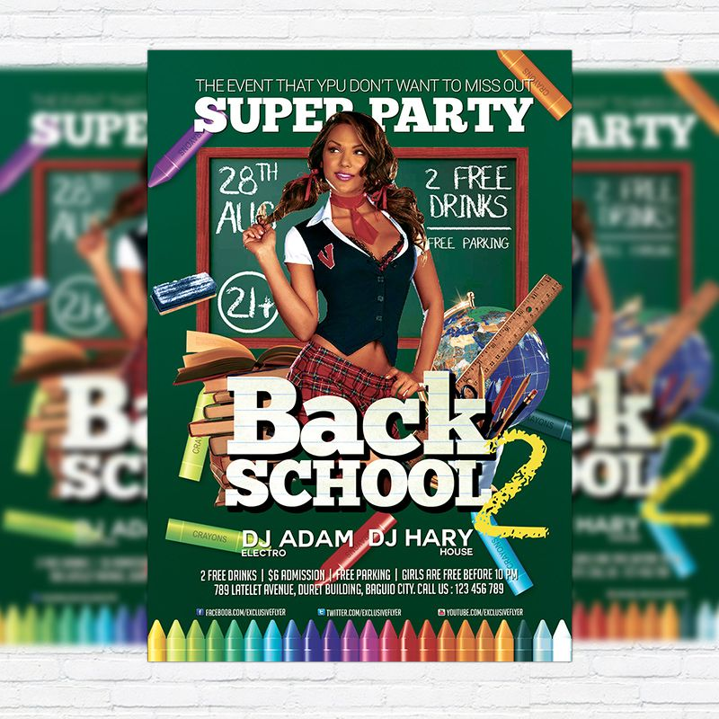 Back To School Party  Premium Flyer Template  Facebook Cover