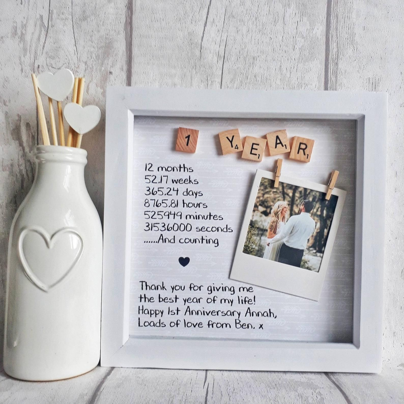 First anniversary frame anniversary gift gift for