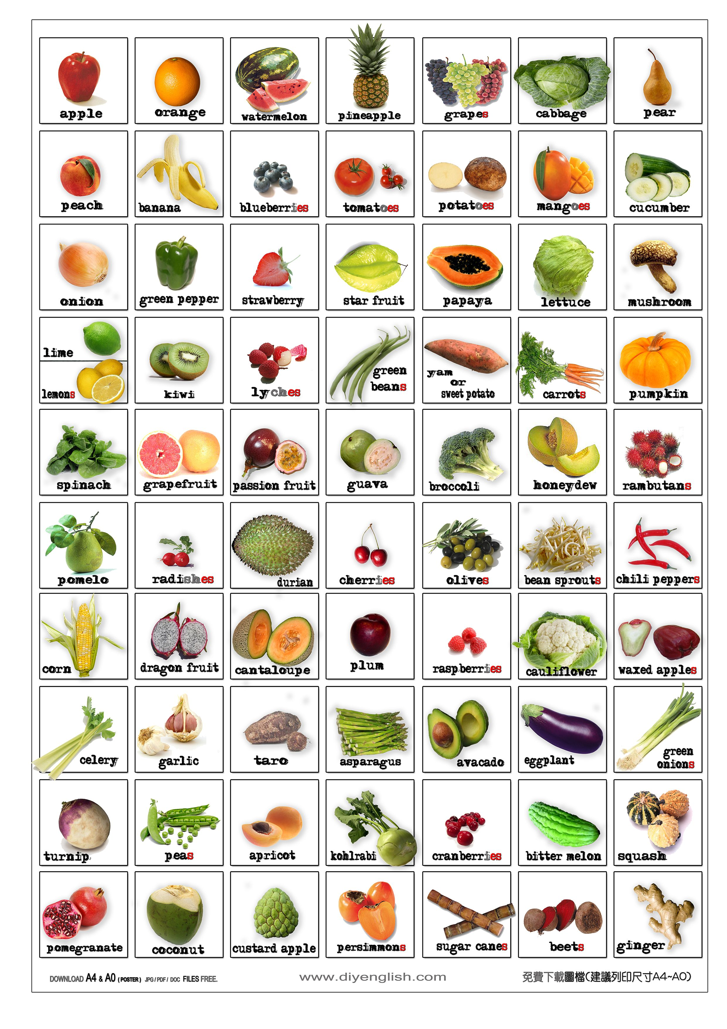 image regarding Printable Fruit and Vegetables identified as Totally free Printable Fruit Vegetable Bingo Free of charge ENGLISH FLASH