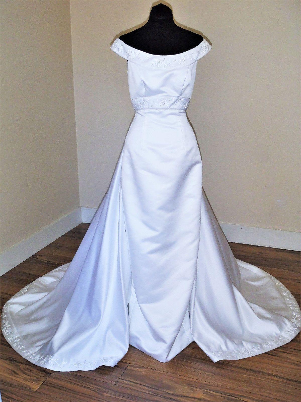 Jasmine white sheath with detachable train wedding dress