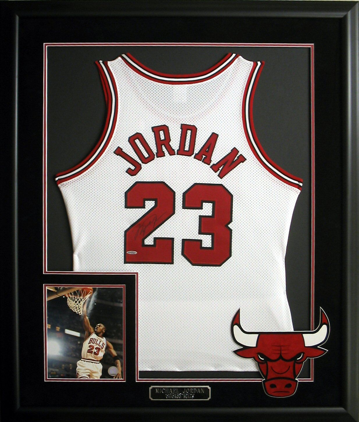 53eba8f6d Michael Jordan autographed and framed jersey with photo and plate.   ChicagoBulls…
