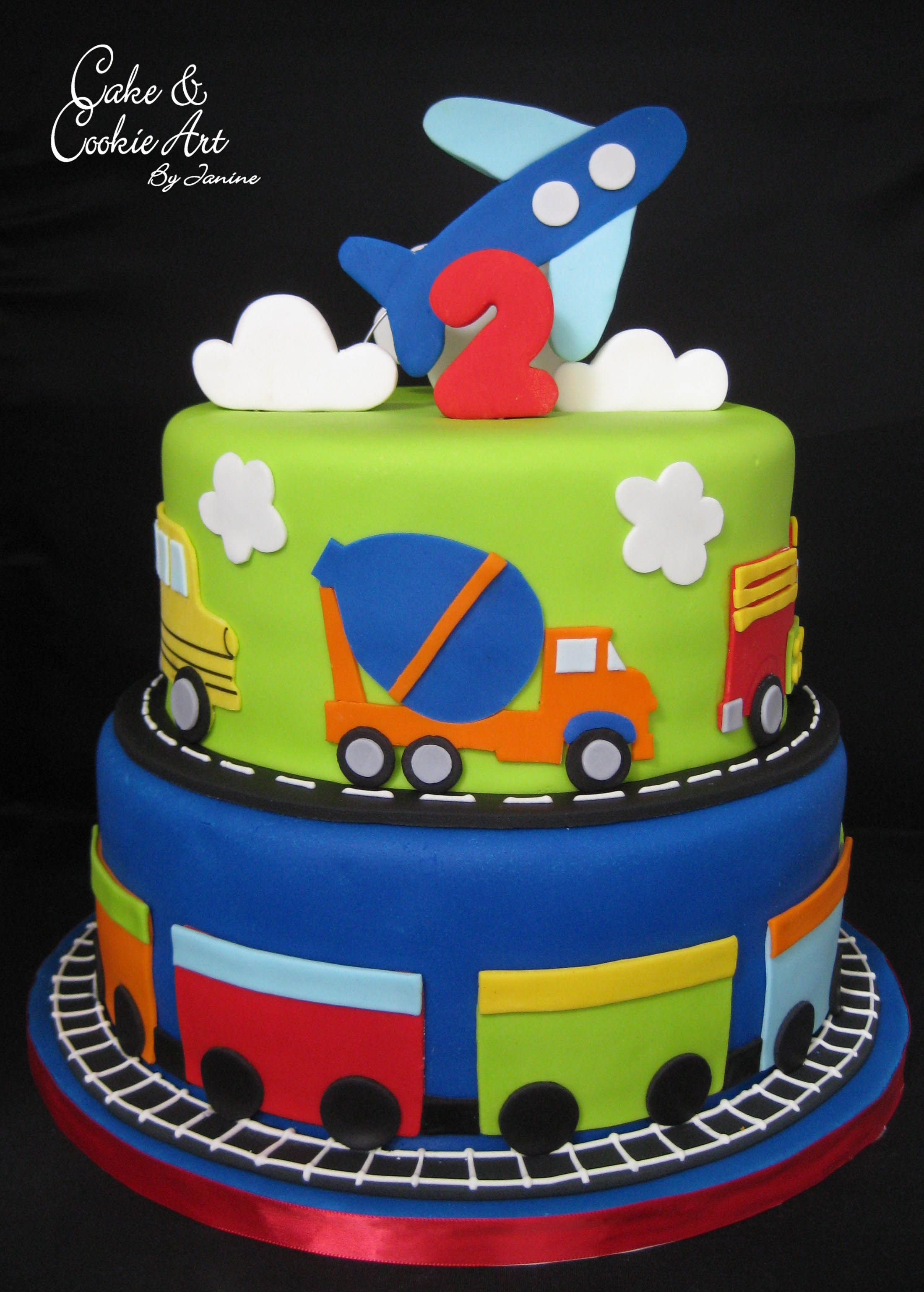 Planes, trains and trucks theme cake in 2020