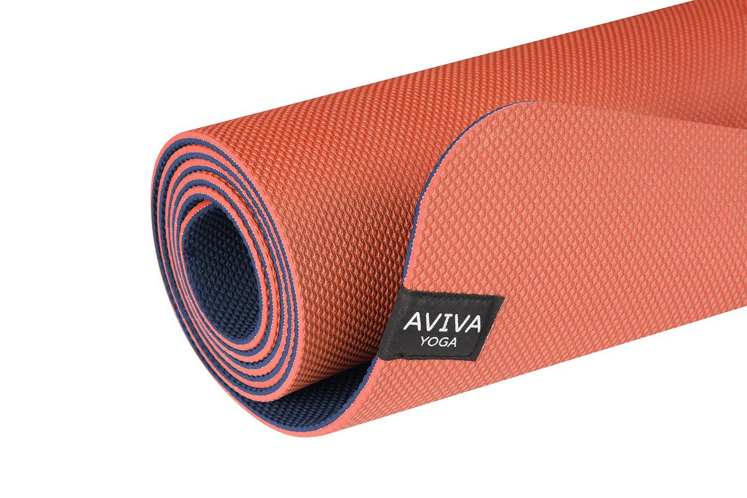 Aviva Yoga Reversible Tpe Foam Mat With Embossed Center Markings 5mm Thick Non Slip Yoga Mat 72 X 24 Inch Orange And Blue Workout Accessories Yoga Yoga Mat