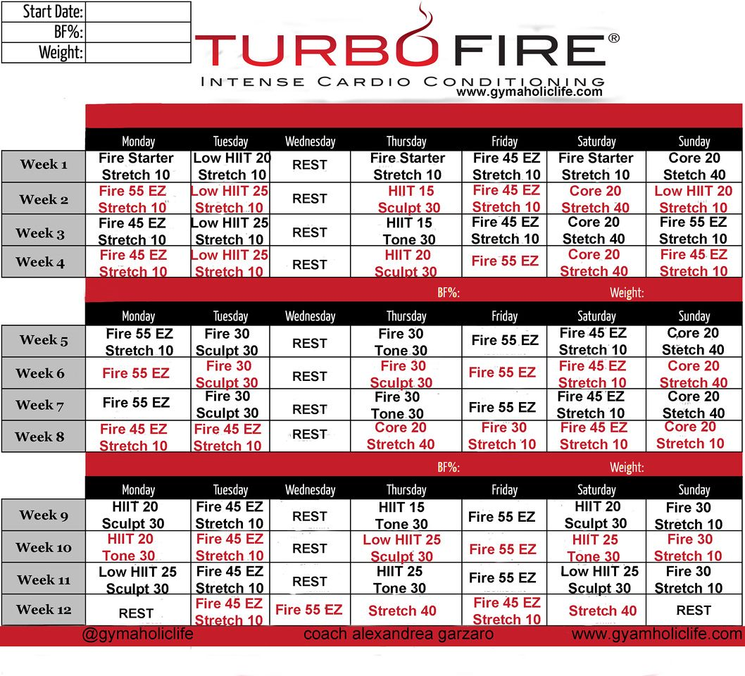 Turbo Fire Calendar Schedule