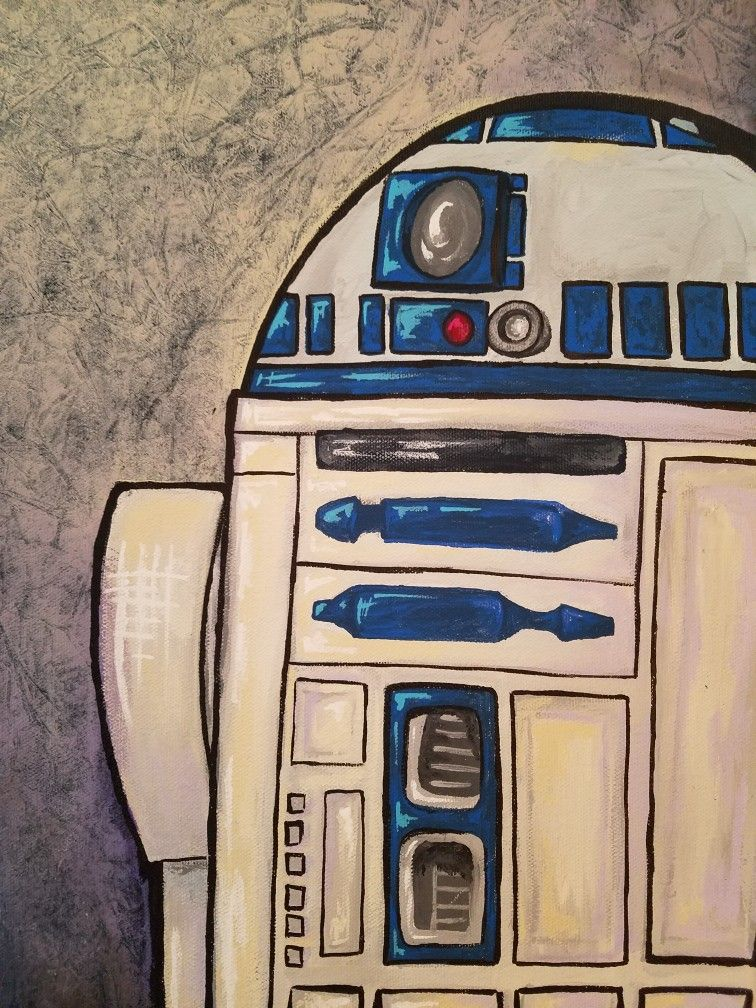 Star Wars R2d2 Droid Acrylic Painting On Canvas Easy Art