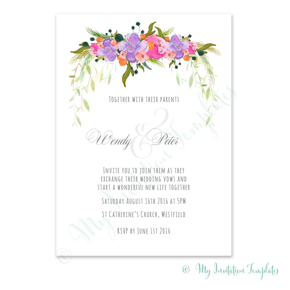 Tutti Frutti Flower wedding Invitation template | Invitation ...