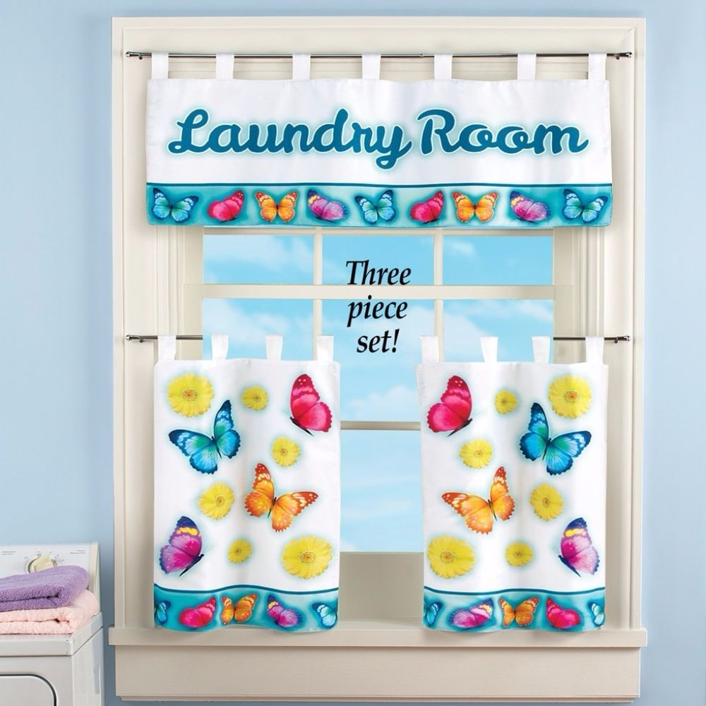 Whimsical Colorful Butterfly Window Curtains Valance Decor Cafe Tier ...