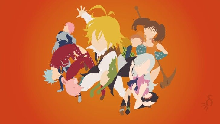 7 Deadly Sins Minimalist Meliodas Elizabeth Hawk Ban Gilthunder King Diane Wallpaper Nanatsu Nanatsu No Taizai Manga 7 Pecados Capitais Anime