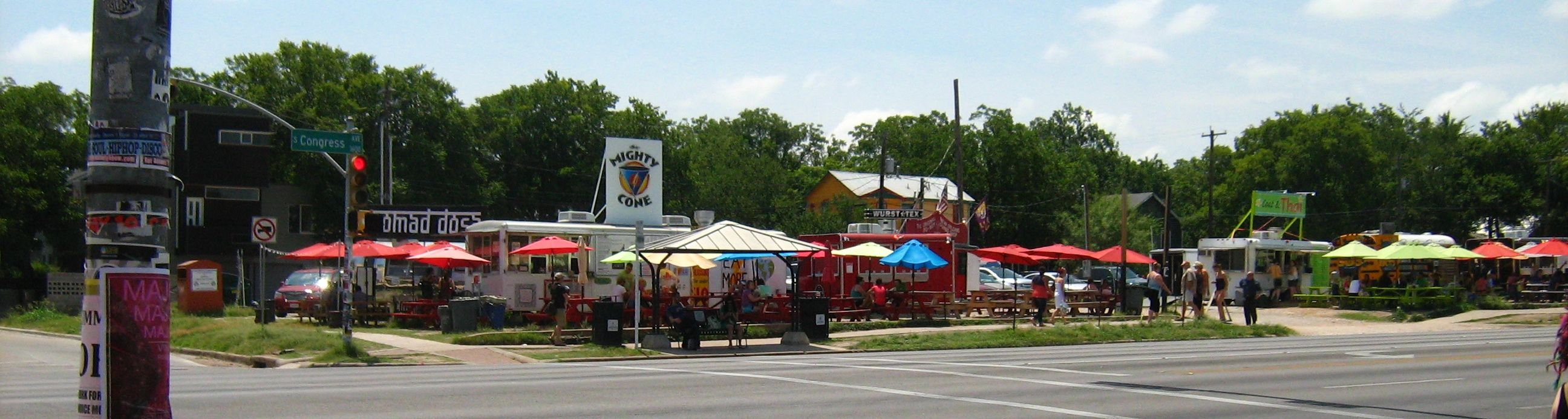 Austin Food Truck Park Across From Austin Cafe On Congressaustin