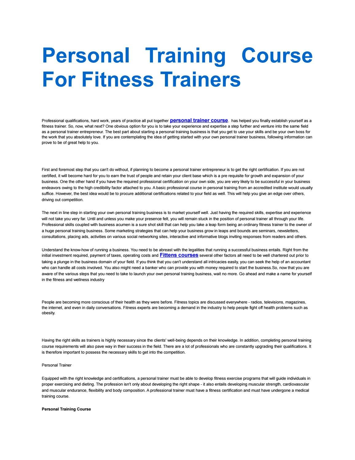 Personal Training Course For Fitness Trainers