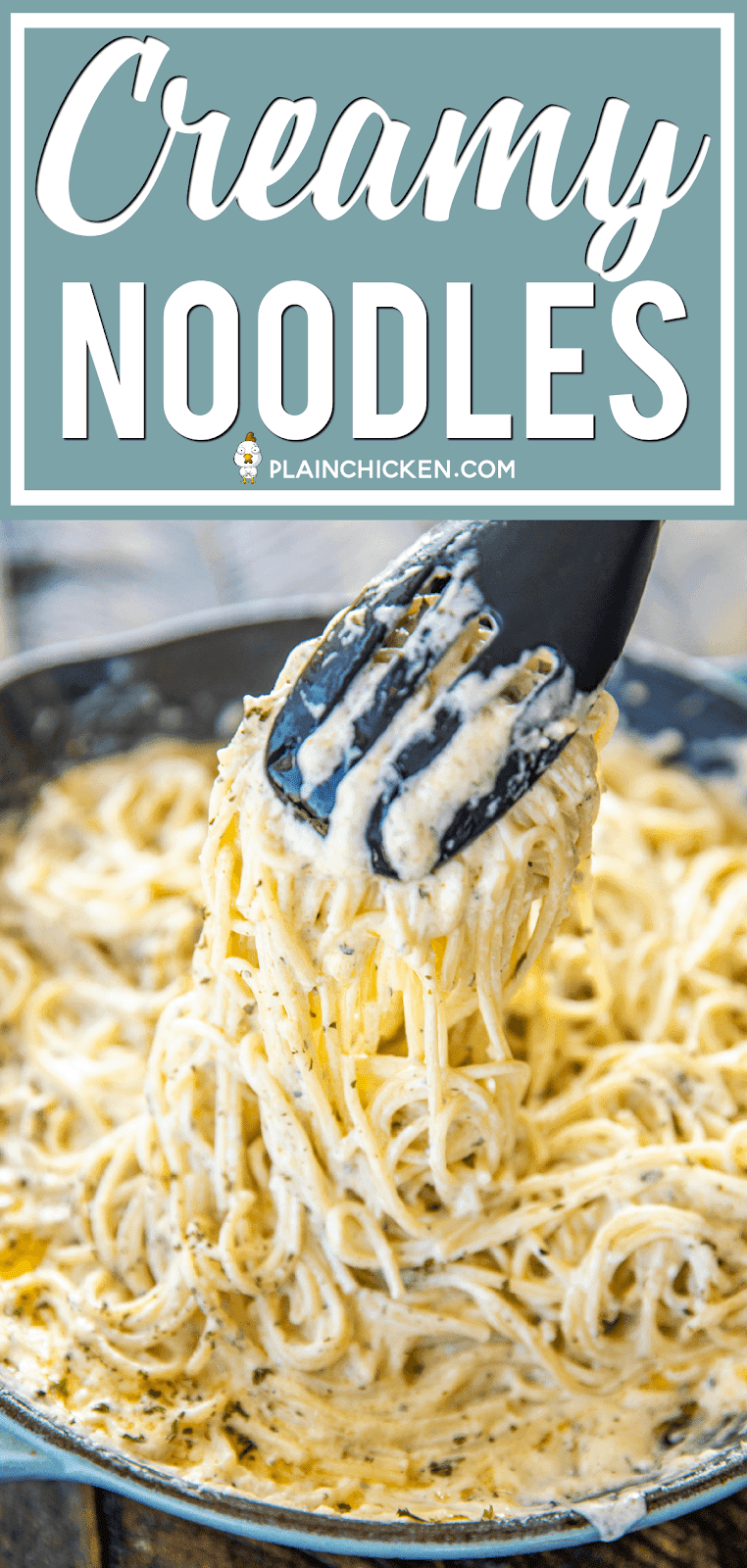 Creamy Noodles - a quick and easy side dish! Ready to eat in about 15 minutes! Spaghetti, cream cheese, milk, parmesan, garlic, butter, cajun seasoning, onion, and parsley. Goes with everything! Steak, chicken, pork. Great side dish or meatless main dish! #pasta #sidedish #creamcheeserecipes
