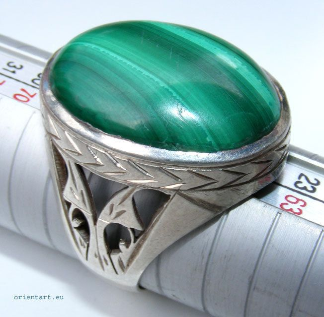 orientalisch massive silber Malachit Ring Persien afghanistan No