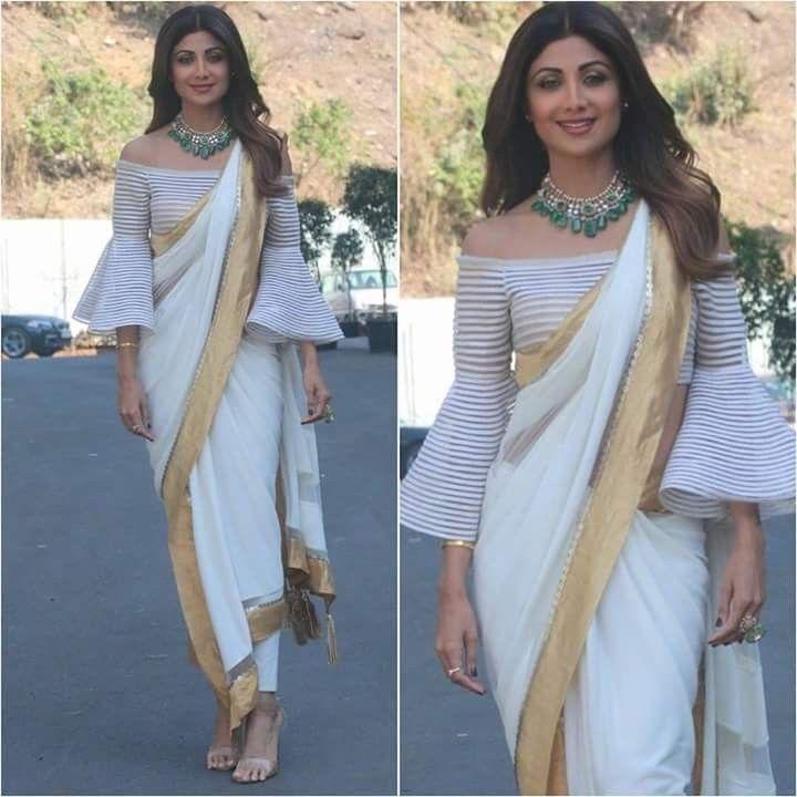 b47f822b758491 White saree with golden edges with off shoulder blosue | Saree | New ...