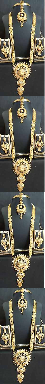 Other Wholesale Necklaces 56148: Wholsale Lot Of 5 Indian Wedding Gold Plated Necklace Earrings Tikka Jewelry Set BUY IT NOW ONLY: $115.0