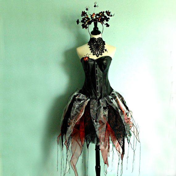HALLOWEEN # BLACK WIDOW SPIDER QUEEN FANCY DRESS MEDIUM 12-14
