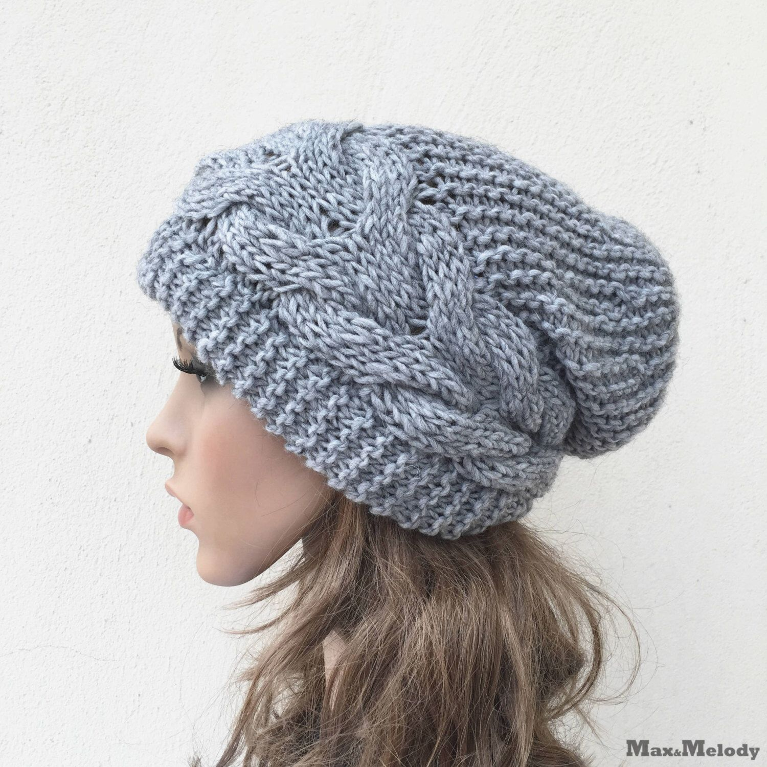 Hand stricken Hut Oversized Chunky Wollmütze slouchy Hut grau Kabel ...