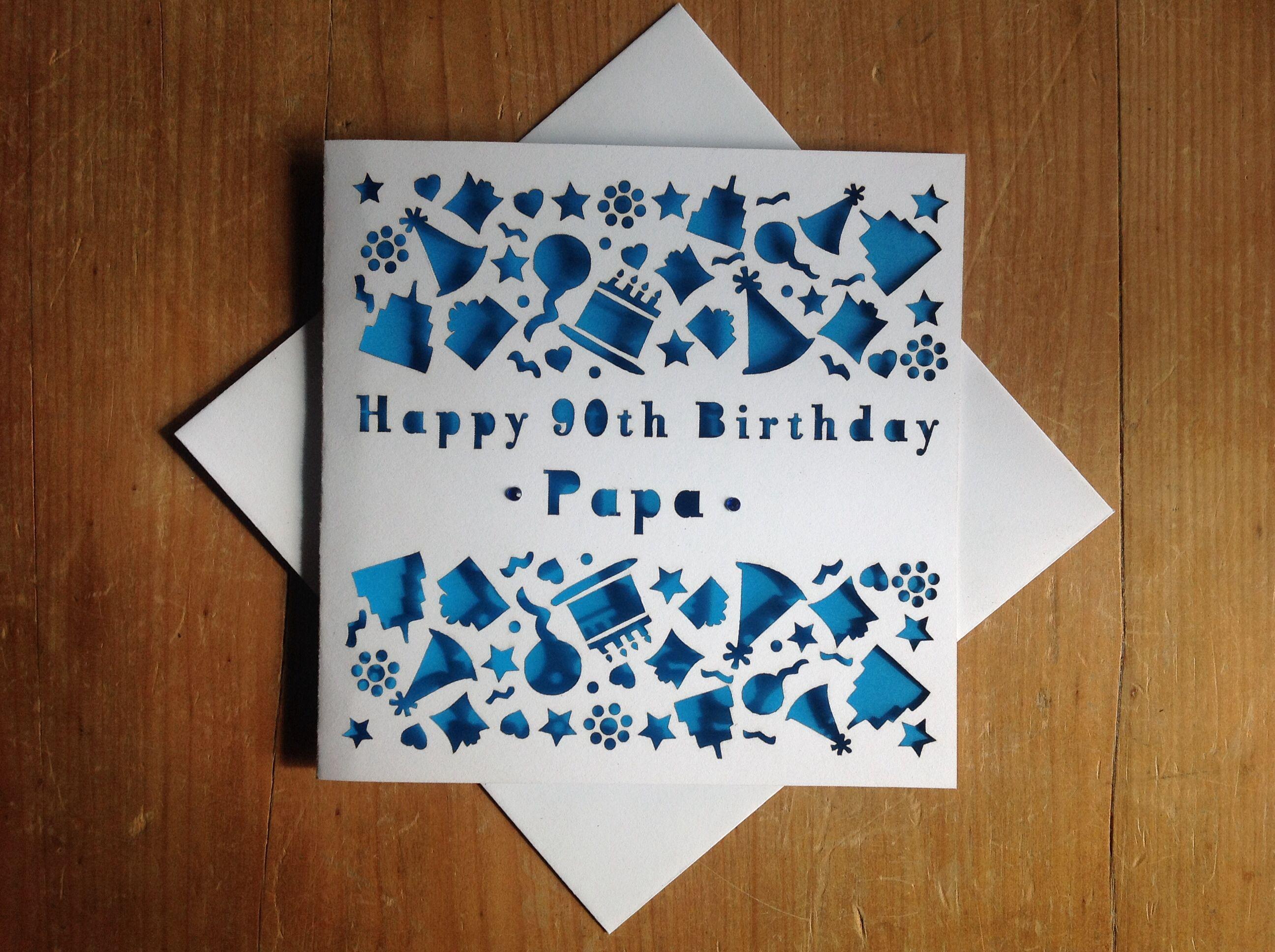 Laser cut personalised 90th birthday card Available from – Personalised Birthday Card Uk