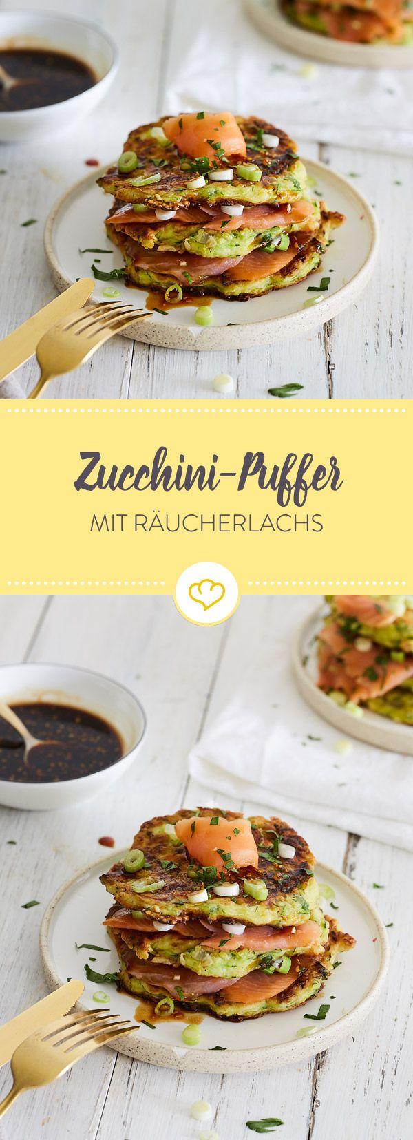 zucchini puffer mit teriyaki sauce und r ucherlachs rezept fisch pinterest. Black Bedroom Furniture Sets. Home Design Ideas