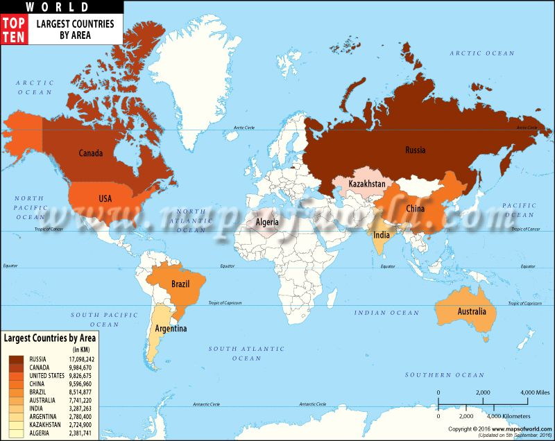 Map of Top Ten Largest Countries in the world by area  World Top