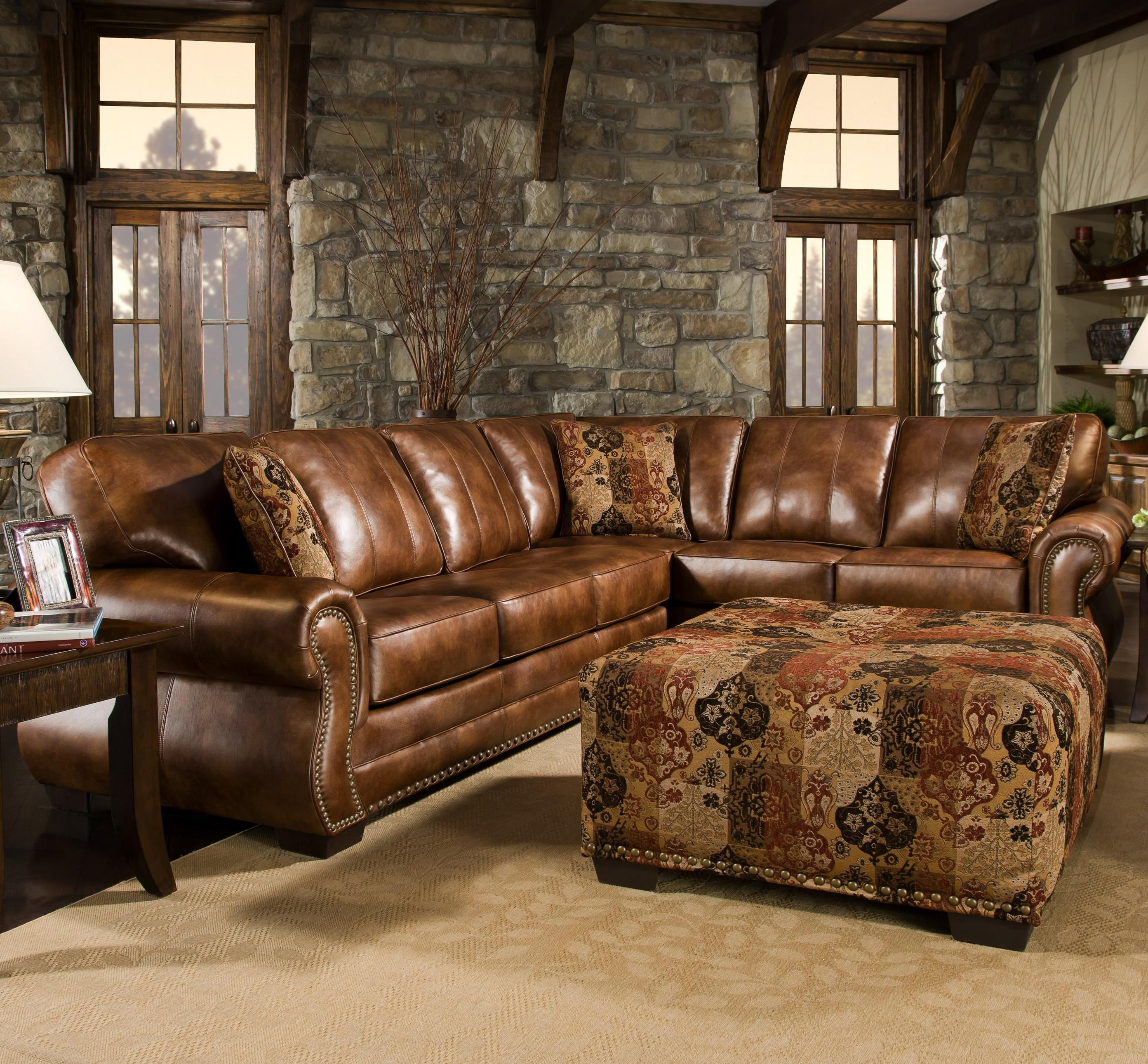 Saddle Sectional With Studs Two Piece Sectional Rustic Western