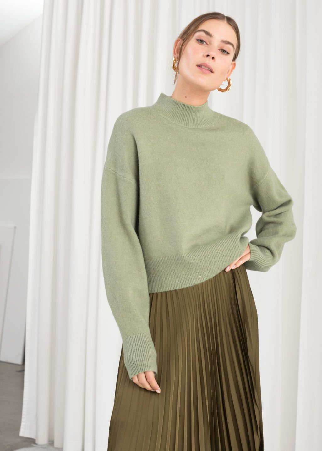 Mock Neck Sweater | Mock neck sweater, Pullovers outfit