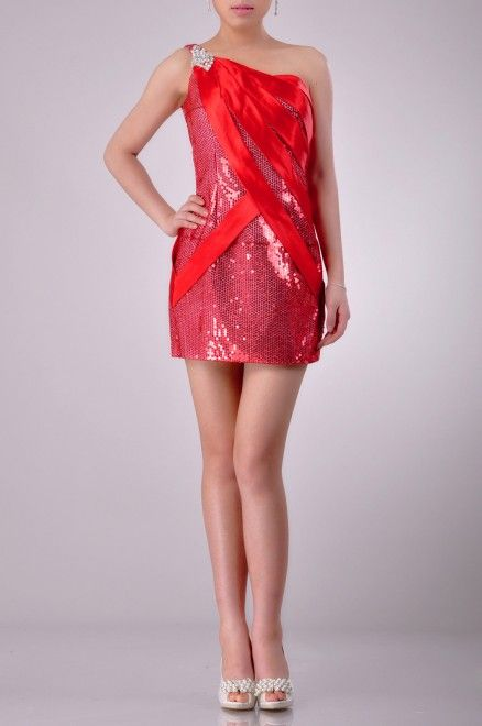 Mini One Shoulder Sleeveless Cocktail Dress Price : $169.99 Free Shipping!