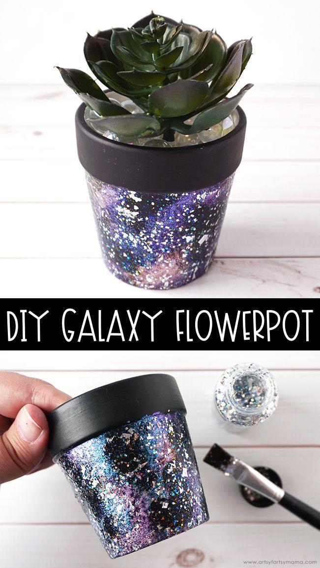 DIY Galaxy Flower Pot