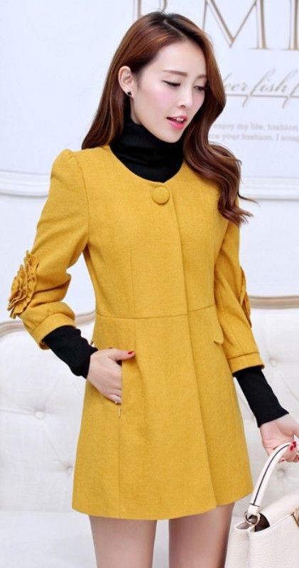 3/4 Sleeve Flower Embroidered Cashmere Coat YRB0395 #koreanfashion #yellowfashion