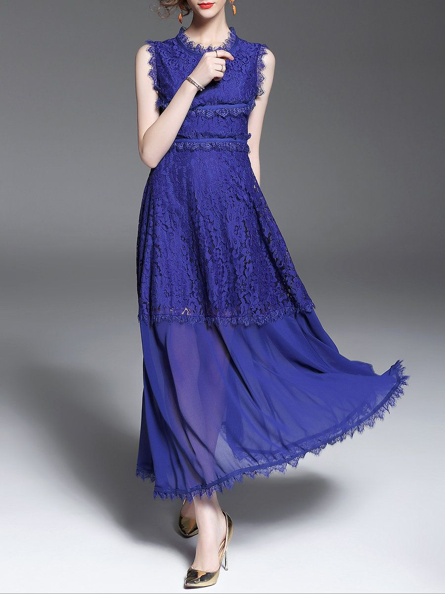 #AdoreWe #StyleWe Maxi Dresses - QinPei.er Stand Collar Crocheted Lace Elegant A-line Sleeveless Maxi Dress - AdoreWe.com