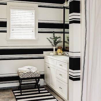 New England Home   Bathrooms   Black And White Bathroom, Black And White  Wallpaper, Black And White Striped Wall