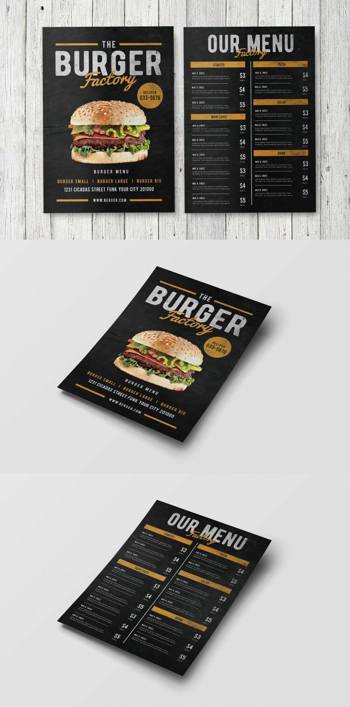 Burger Factory Menu Template PSD Foodmenu Design Burger - Small menu template