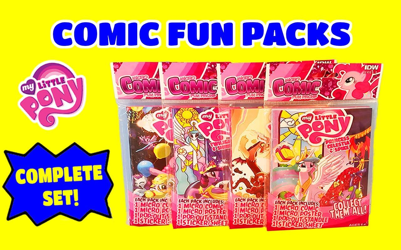 Toy Box Magic opens a complete set of Series 3 My Little Pony Micro Comics. There are 4 in all to collect and they include micro comic books, posters, stickers and pop out standees. Soooo cute!