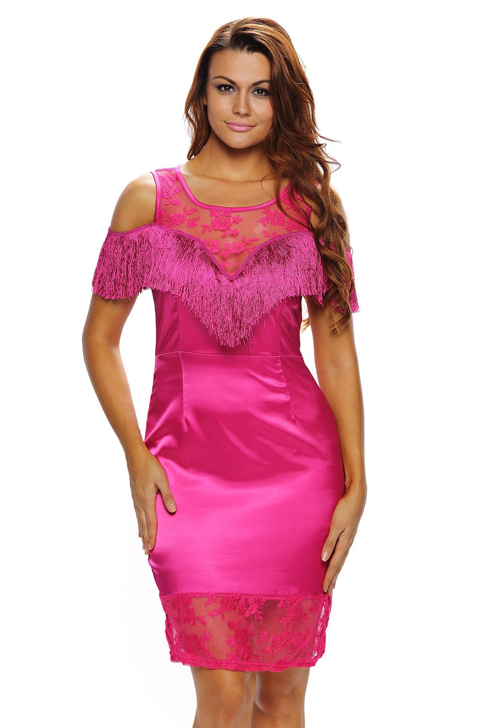 0ffae83abca Robes De Soiree epaule Froide Bordee Cocktail Rose Robe Moulante Pas Cher  www.modebuy.com  Modebuy  Modebuy  CommeMontre  sexy  dress  Rose