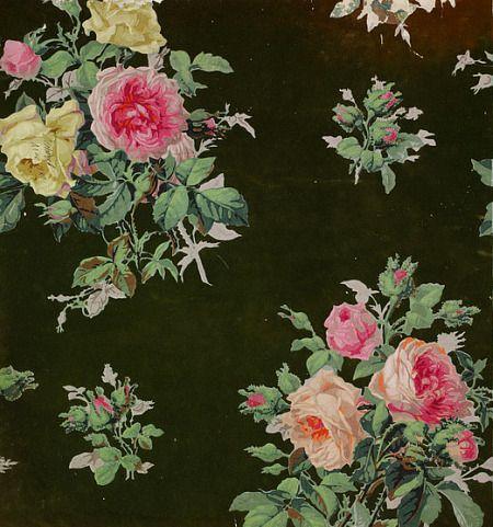 vintage fabric old roses pinterest papier tissu et tissus. Black Bedroom Furniture Sets. Home Design Ideas