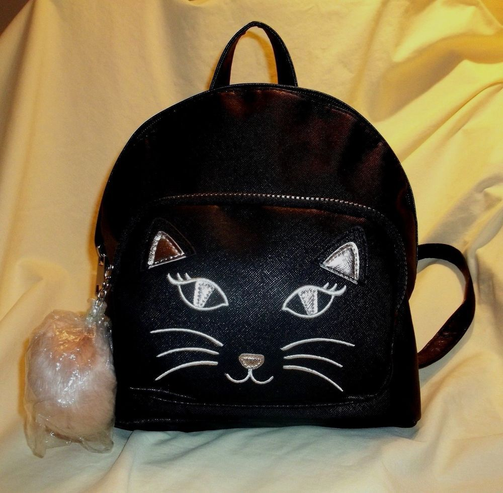 9cd7c4e257 Ladies Womens Girls Cute Black Cat Backpack with Pom Pom   22.00 End Date   Wednesday Dec-5-2018 22 08 22 PST Buy It Now for only   22.00…