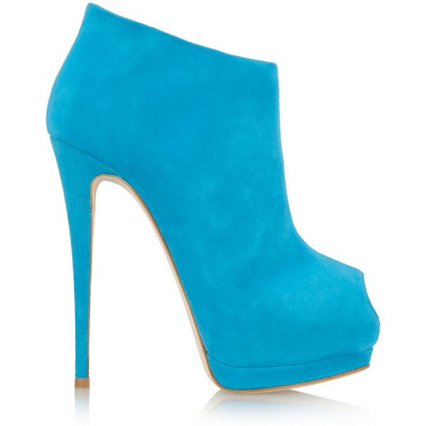 Giuseppe Zanotti Suede peep-toe platform ankle boots ($895) ❤ liked on Polyvore