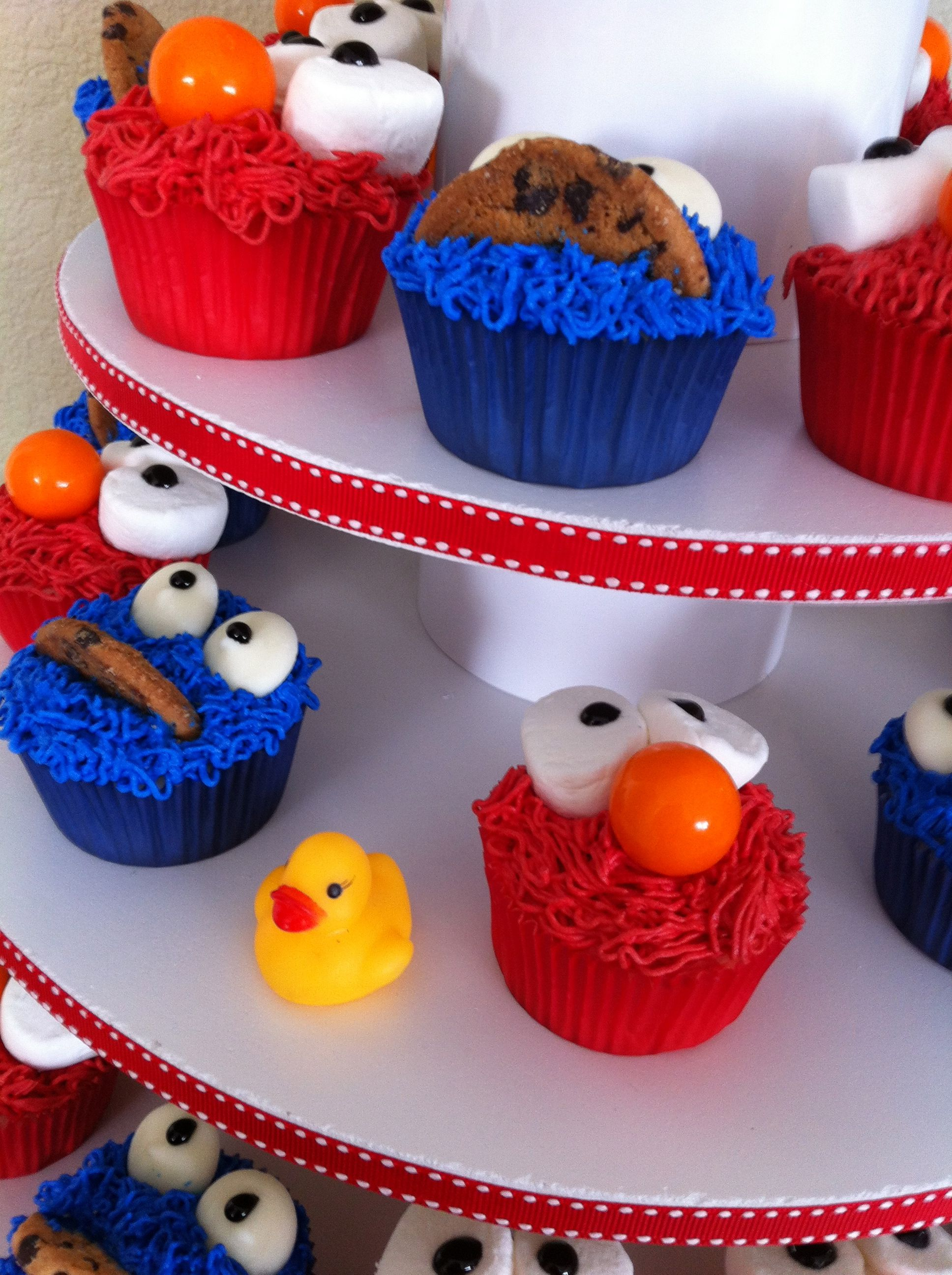 Elmo and Cookie Monster cupcakes I made for Riley's 2nd birthday party in June