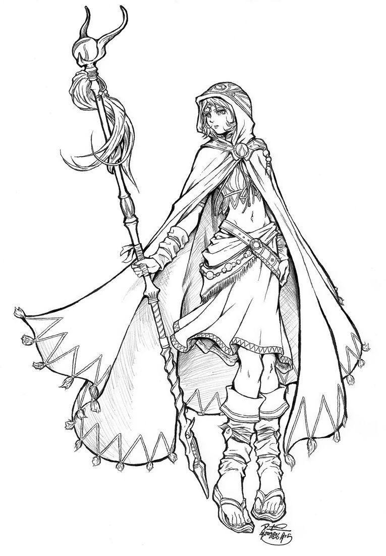 Female Wizard Half Elf Sketch Google Search Desenhos Para