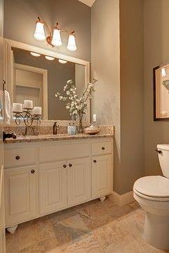 custom concord traditional powder room | tan bathroom