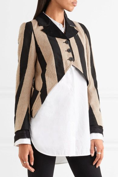 Ann Demeulemeester Woman Double-breasted Striped Satin-twill Jacket Red Size 40 Ann Demeulemeester Cheapest Online Cheap Sale Best Extremely Online q88Ha6KYhd