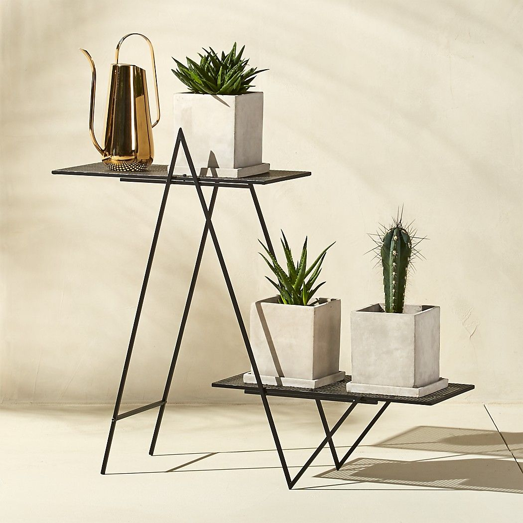 Angled Black Outdoor Plant Stand + Reviews in 2020