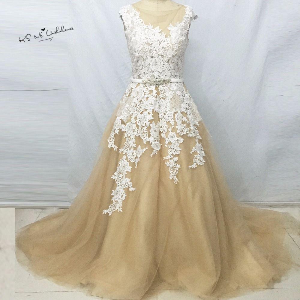 Sexy champagne russian style elegant wedding dresses lace robe de