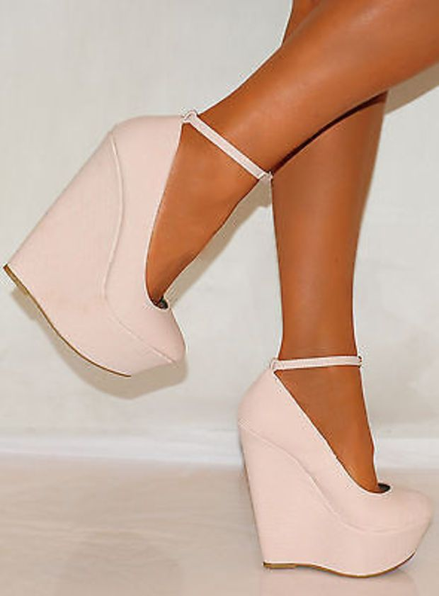891c555fe59a LADIES PALE BABY PINK SNAKE SKIN COURT PLATFORMS WEDGES ANKLE STRAP HIGH  HEELS