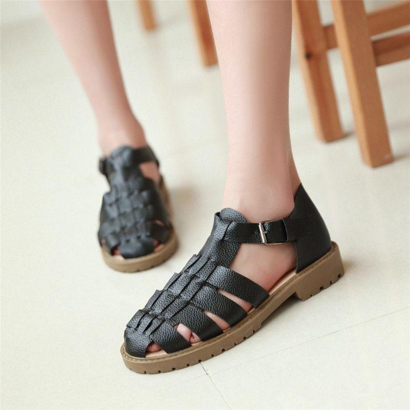Gladiator Sandals Woman Summer Women's Shoes Sandalias Mujer White Shoes Flat Heel Herringbone cover heel round head