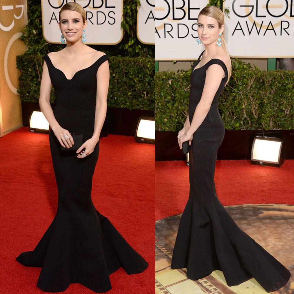 st golden globe evening celebrity dresses emma roberts black